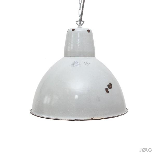 Große hellgraue vintage Industrielampe Ø 42 cm