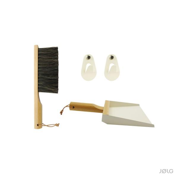 Handfeger und Kehrschaufel Set, Metall Creme Weiß / Buche, aus Frankreich von Andrée Jardin