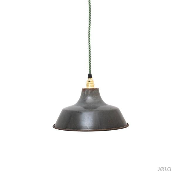 Kleine Patina-Anthrazit Industrielampe aus Frankreich Ø 26 cm