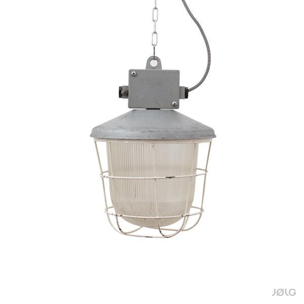 """Alte Ex-Gitterlampe Industrielampe """"Brandenburg"""" mit Glas und Schutzgitter Ø 26 cm"""
