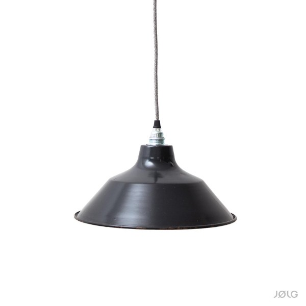 Schwarze vintage Industrielampe aus Frankreich Ø 31 cm
