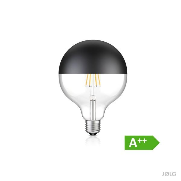 Große schwarze E27 Kugel Kopfspiegel LED Filament Lampe G125 (Ø 12,5cm) 7W warm-weiß 660lm A++