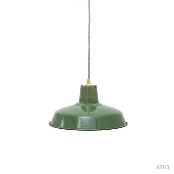 Grüne vintage französische Industrielampe Ø 31 cm mit Patina