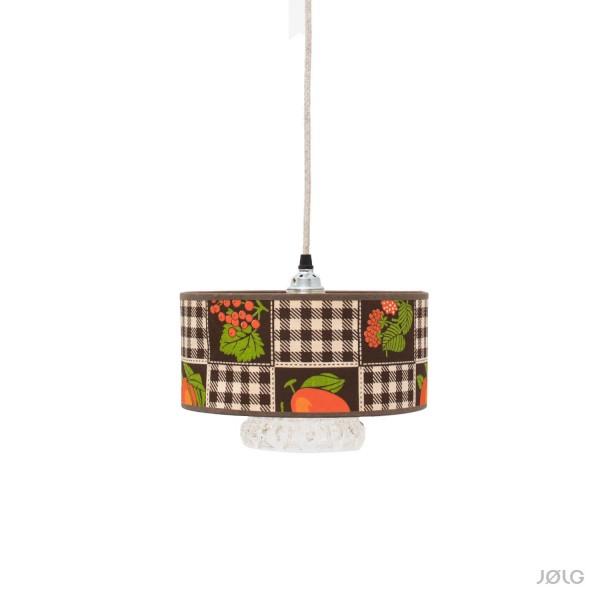 "Vintage Omas ""Berry"" Hängelampe Ø 25 cm Textil + Kristallglas"