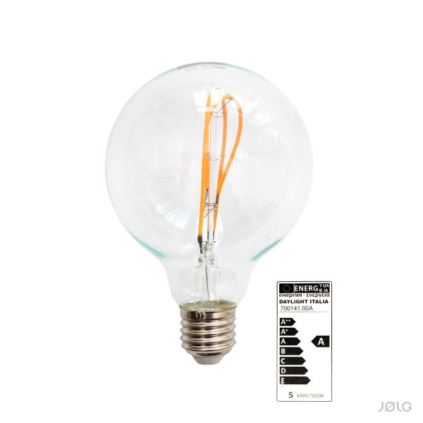 LED Globe G95 Glühbirne E27 Curved Filament Vintage-Look 5W warm-weiß 280 lm