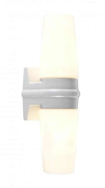 Weiße Bernadotte - Schwedische midcentury doppel Wandlampe Badleuchte Opalglas Ifö Electric