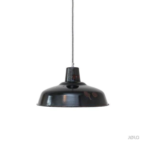 Alte schwarze Fabriklampe mit Patina aus Frankreich Ø 35 cm