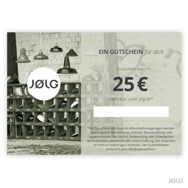 JØLG Geschenkgutschein im Wert von 25 €