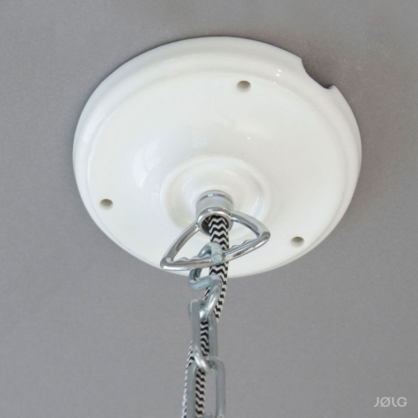 Porzellan Baldachin Weiß für Kettenaufhängung (mit 2 Seitenauslässen) Kettenbaldachin