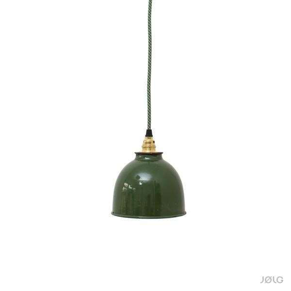 Kleine grüne Spot vintage Emaille Hängelampe Ø 16 cm