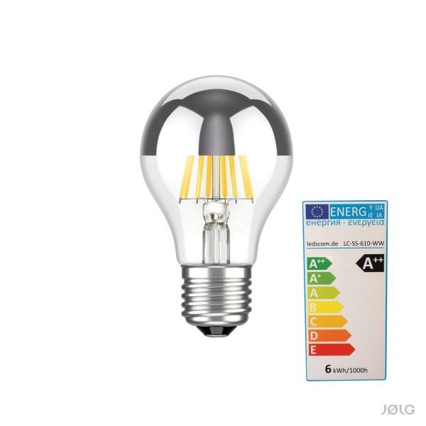 Kopfverspiegelte LED-FILAMENT Lampe E27 710 lm warm-weiß
