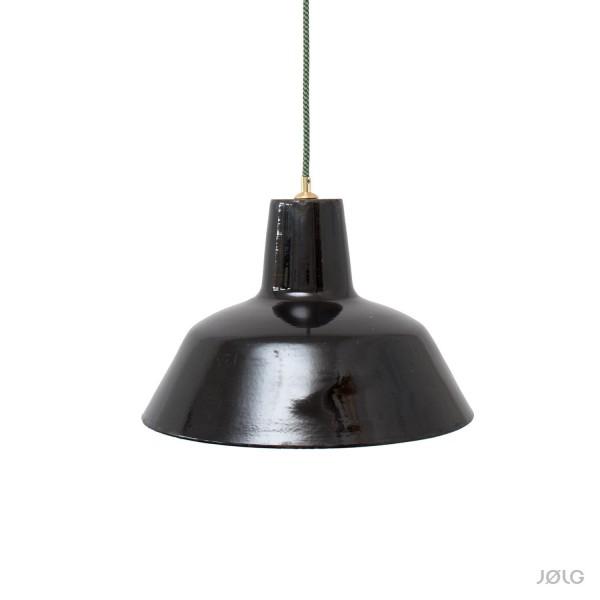 Alte satt schwarze Bauhaus emaillierte Fabriklampe Ø 40 cm