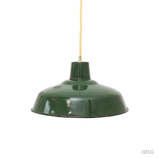 Dunkles Grün - echt Vintage - Frankreich - Industrielampe Ø 35 cm mit Patina