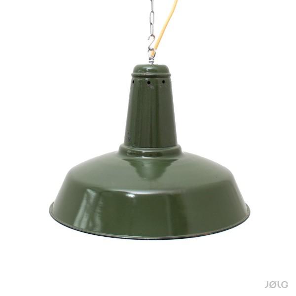 Alte große grüne Industrielampe aus Frankreich Ø 45 cm