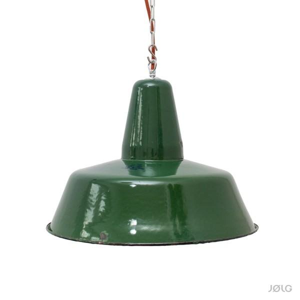 Alte petrol / dunkelgrüne Industrielampe mit Aufdruck Ø 41 cm