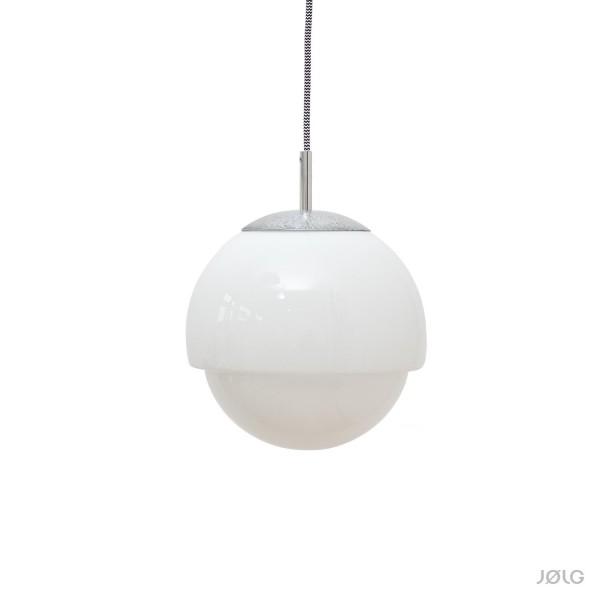 Vintage weiße Opal Glaskugel Hängelampe Ø 24 cm Opalglas Art-Déco