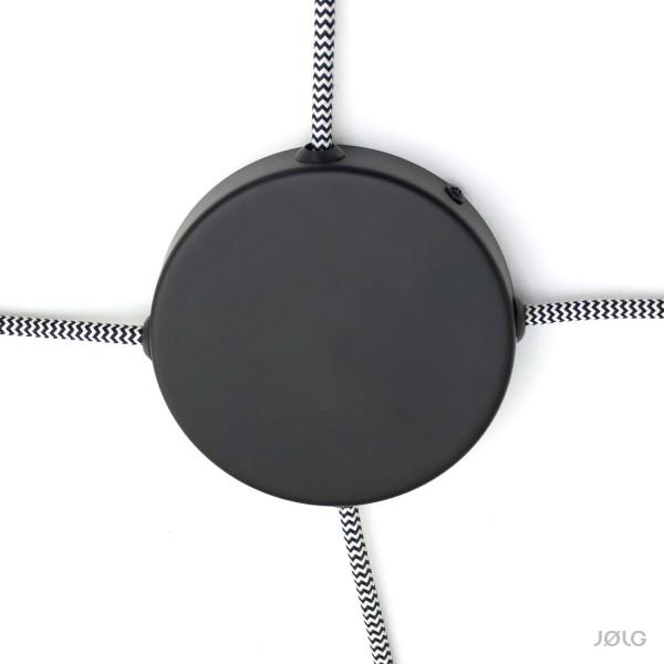 Metall Abzweigbaldachin Schwarz für 1-4 Lampen