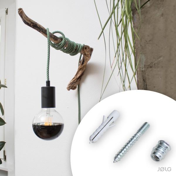 DIY Set für eine Lampen-Wandhalterung aus Holz