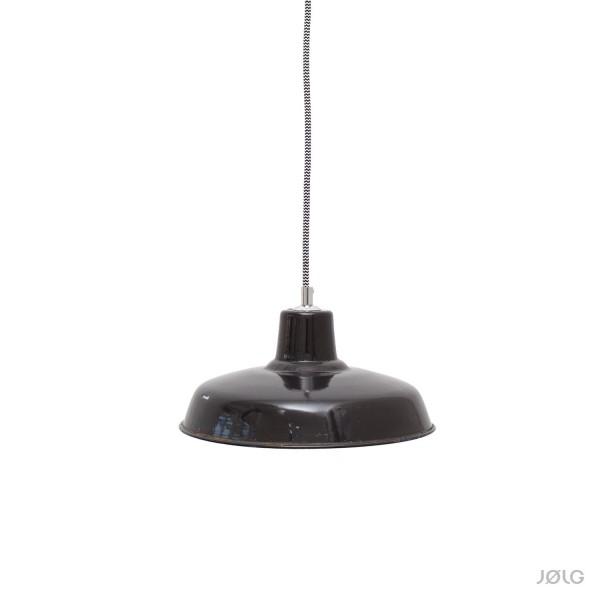 Kleinere schwarze vintage französische Industrielampe Ø 26 cm