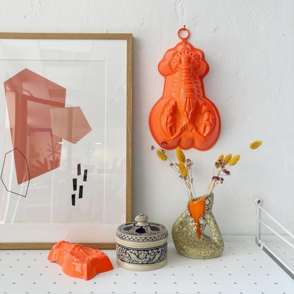 Léon der Neon-Orange Lobster Groß | Wand-Objekt | Neons by JØLG