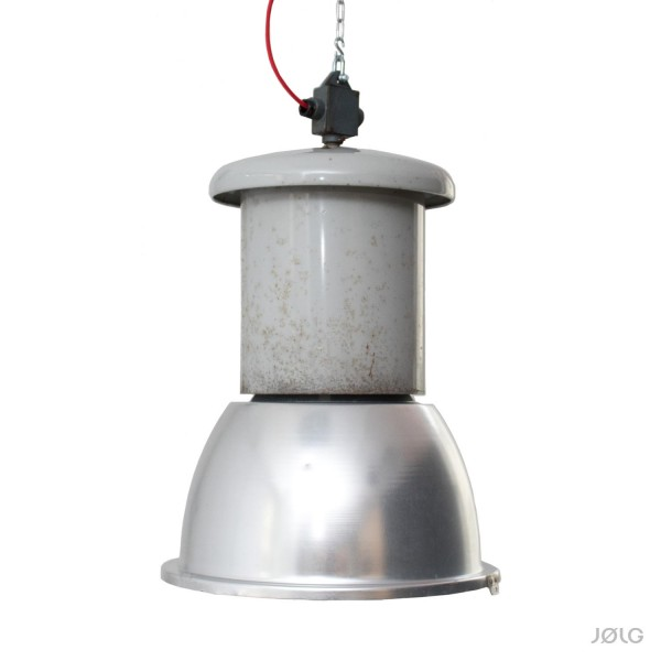 Sehr große alte hellgraue Industrielampe Ø 47 cm Höhe 72 cm
