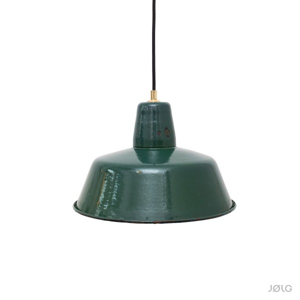 Alte petrol / dunkelgrüne vintage Industrielampe Ø 32 cm