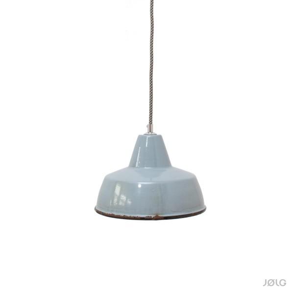 Alte kleinere eisgraue Emaille Industrielampe Ø 25 cm