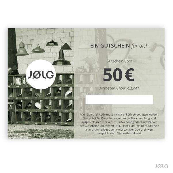 JØLG Geschenkgutschein im Wert von 50 €