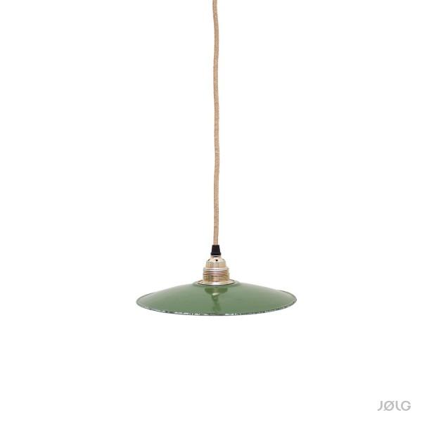Flache grüne vintage Emaille Lampe Ø 24 cm Hoflampe, Flurlampe von ca. 1930