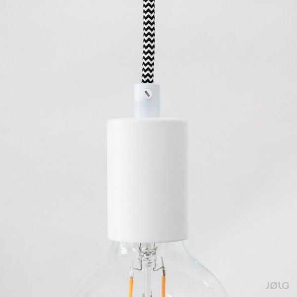 Fassung E27 Metall Weiß für Pendelleuchten Lampenbau - Lampenfassung Set inkl. Zugentlastung