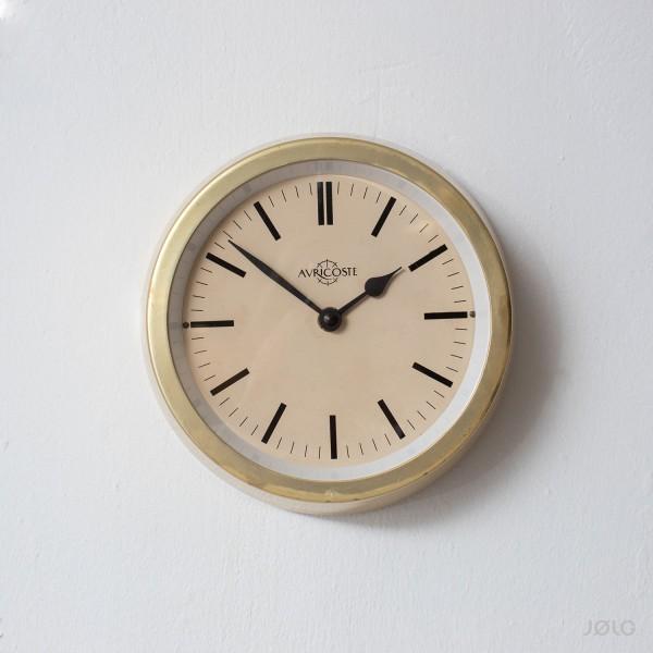 """Vintage kleine Wanduhr """"Auricoste"""" Messing matt Ø 21 cm Schiffsuhr"""