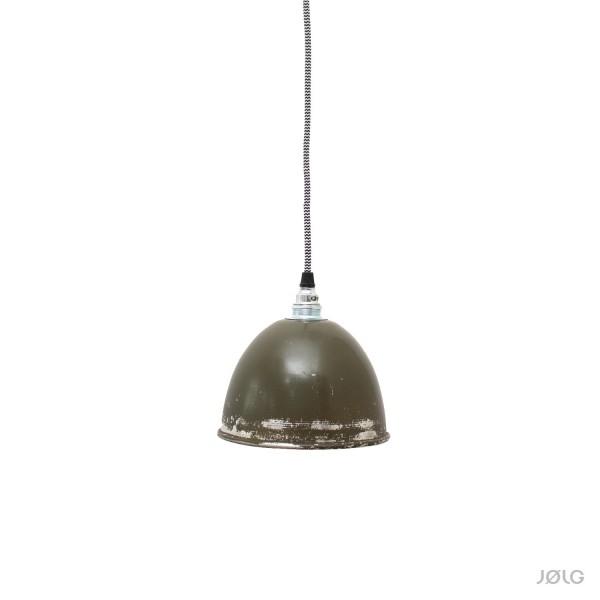 Kleine vintage oliv-grüne Metall Pendelleuchte Ø 17 cm Hängelampe