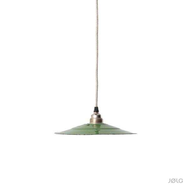 Flache grüne vintage Emaille Lampe Ø 24 cm Hoflampe, Flurlampe von ca. 1930-Copy