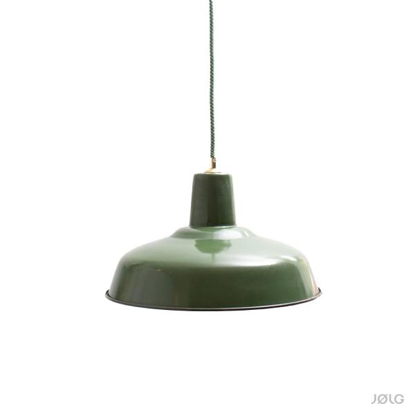 Vintage französische grüne Industrielampe Ø 36 cm