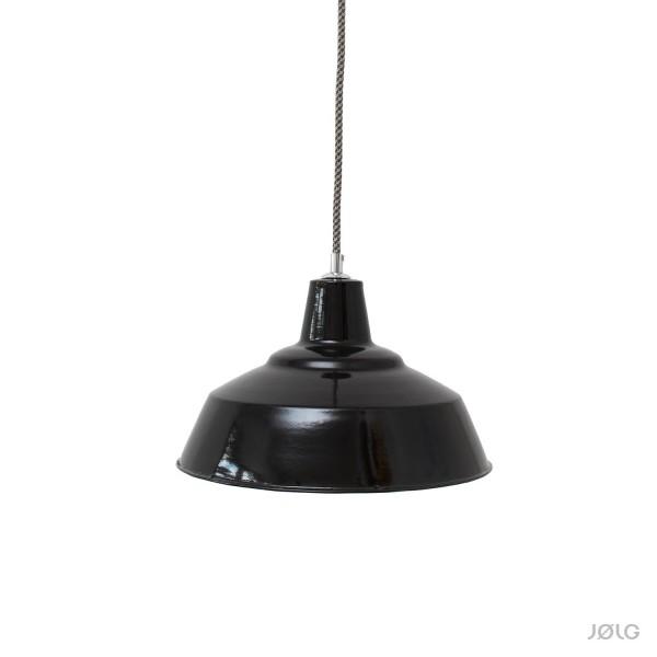 Alte satt schwarze Bauhaus emaillierte Fabriklampe Ø 30 cm