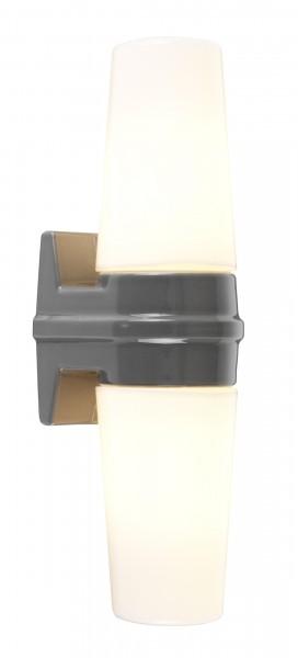 Graue Bernadotte - Schwedische midcentury doppel Wandlampe Badleuchte Opalglas Ifö Electric