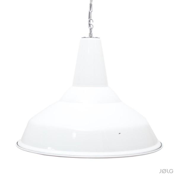 Alte große englische weiße Industrielampe Emaille Ø 48 cm