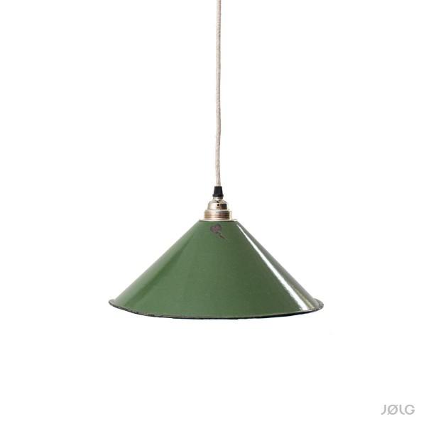 Konische grüne vintage Emaille Lampe Ø 30 cm Hoflampe, Flurlampe