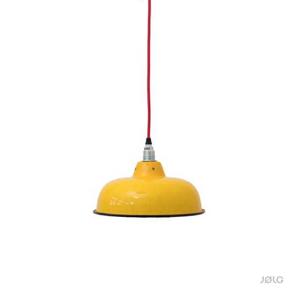 gelbe emaille industrielampe mit individuellem textilkabel von j lg j lg. Black Bedroom Furniture Sets. Home Design Ideas