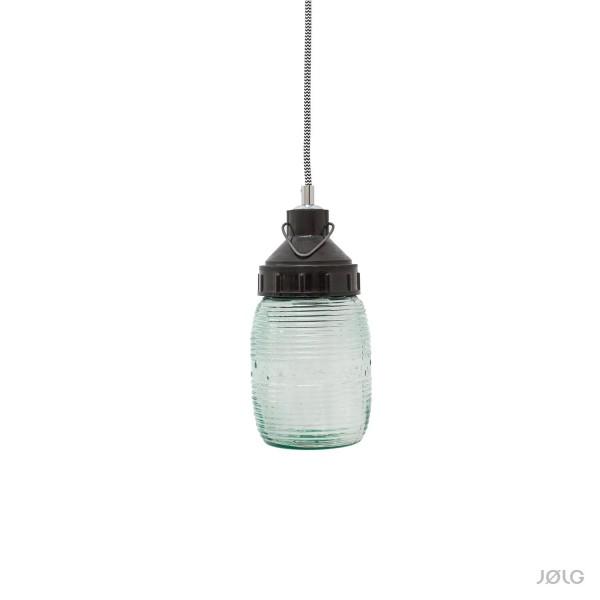Kleine vintage industrielle Glas Hängelampe Bakelit-Bulb Ø 10 cm