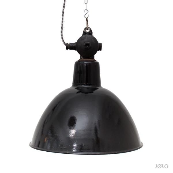 Schwarze Grosse Alte Emaille Industrielampe Mit Individuellem