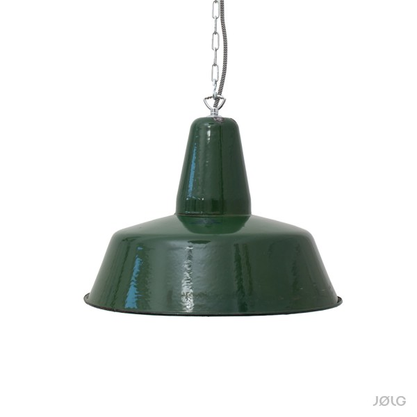 Alte große petrol / dunkelgrüne Industrielampe mit Aufdruck Ø 41 cm
