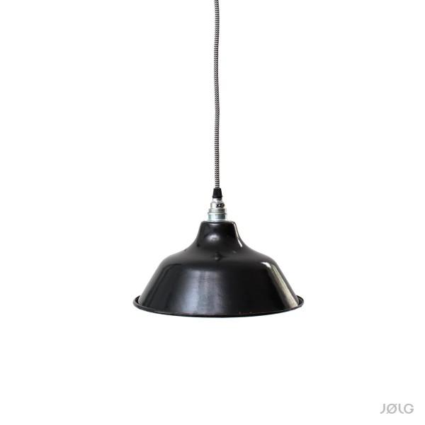 Kleine schwarze vintage Industrielampe aus Frankreich Ø 25 cm