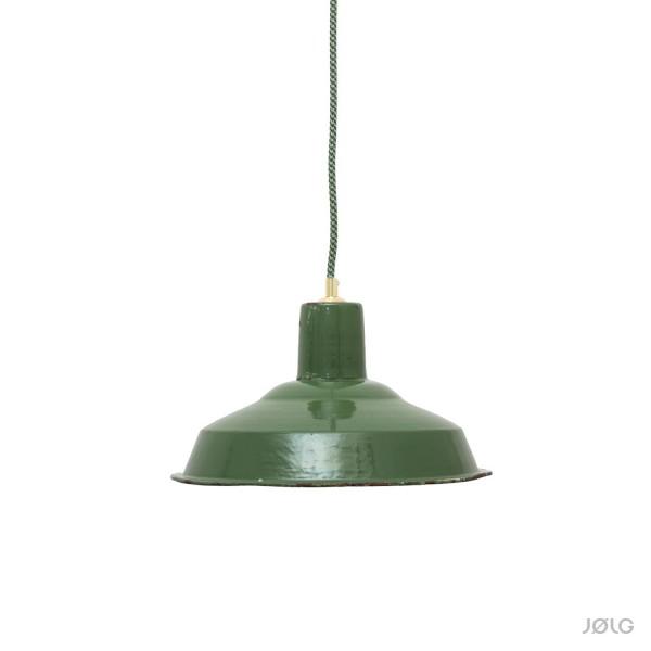 Grüne vintage französische Industrielampe Ø 31 cm