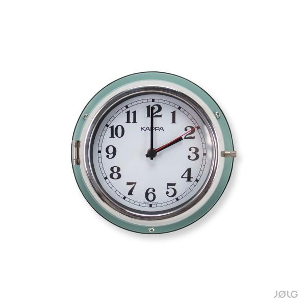 """Vintage Uhr """"KAPPA"""" Schiffsuhr Ø 21 cm Pastell Blaugrün mit Chromring"""
