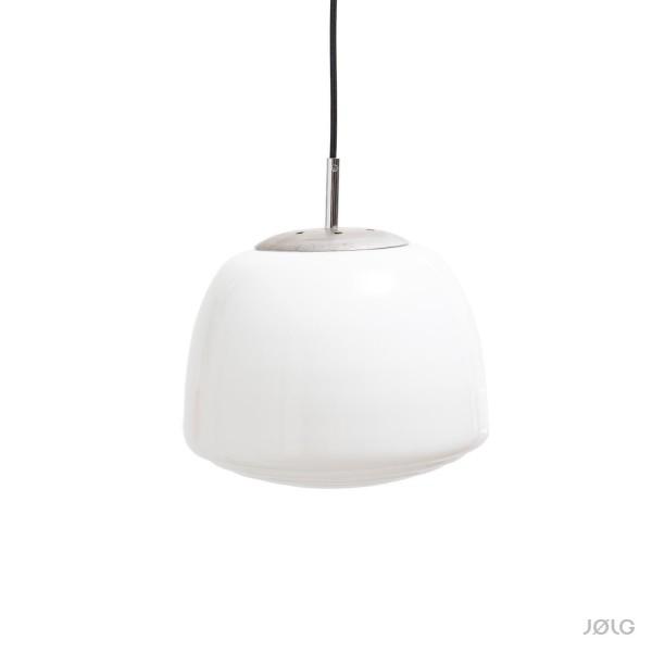Sehr alte getreppte Art-Déco weiße Opal Glaskugel Hängelampe Ø 28 cm