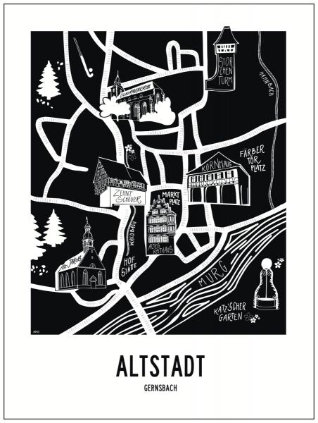 Altstadt Gernsbach Map | Art Print 30 x 40 cm