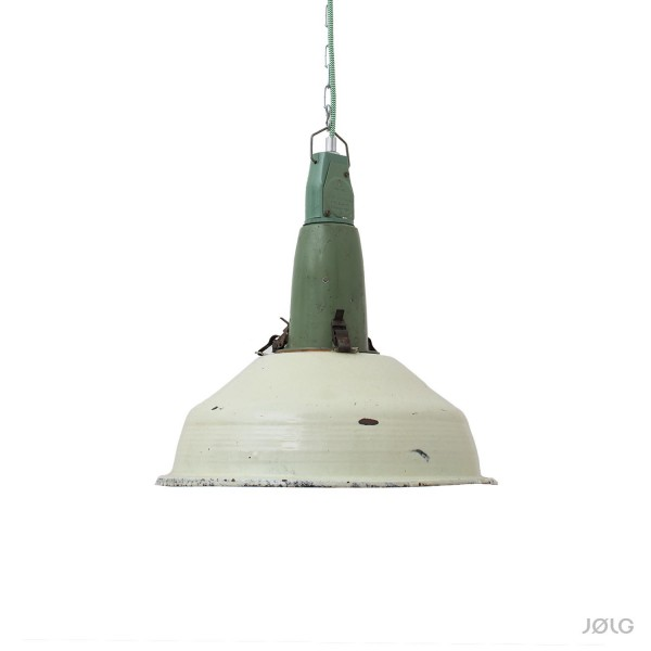 Alte große pastellgrüne mint Industrielampe Ø 41 cm
